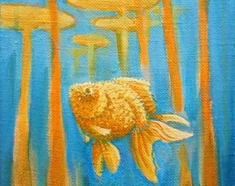 Goldfish Under the Lily Pads, 8x16 in Original Painting on Canvas