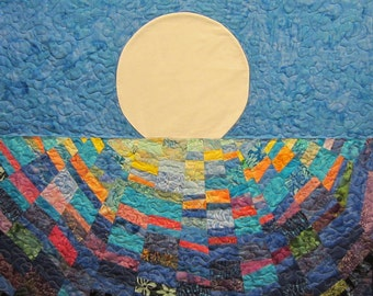 Colorful Moon Wall Hanging Art Quilt