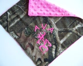 Baby Girl Camo Personalized burp cloth blanket
