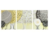 Gender Neutral Nursery Art - Abstract Yellow and Gray Tree Painting on Canvas Triptych - Large 50x20