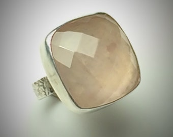 Sterling Silver and faceted rose quartz ring