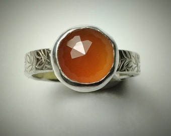 Sterling silver and faceted Carnelian ring