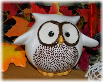 Ceramic  Owl Bank ..I can fly!     Nursery decoration baby Hoot  to save your loot Fruit White - chocolate  & Polka dots nursery