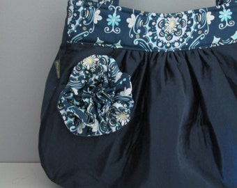 Handmade purse - large shoulder bag in navy blue with ruffle flower embellishment