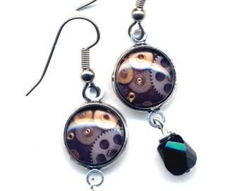 Steam Punk Earrings, Watch Part Earrings, Surgical Steel Earrings, Steam Punk Jewelry by AnnaArt72