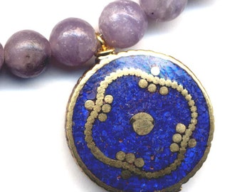 Lilac Stone Necklace, Tibet Lapis Lazuli Mandala Pendant, Nepal Mandala Necklace, Handmade Nepal Jewelry by AnnaArt72