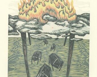 Prophecy, a 5 color reduction woodcut