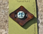 "Handmade Ceramic Button ""Leather"""