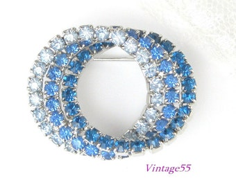 Blue Brooch Rhinestone Circle Pin