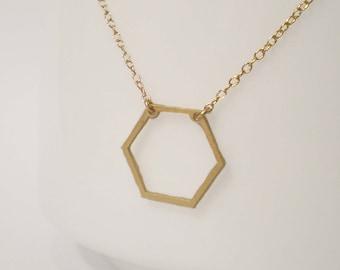 Hexagon Necklace - Geometric Necklace - Delicate Hexagon Charm