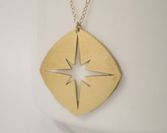 Long Compass Star Necklace, Compass Necklace, Compass Charm, Long Necklace, Layering Necklace