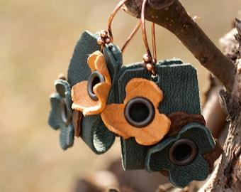 Flower Leather Earrings