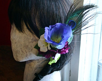 Peacock Delight  Hair Clip Fascinator- Wedding, Belly Dance, Prom, Tribal Fusion, ATS, Pin Up, Fairy