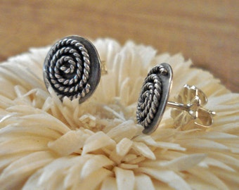 Sterling Silver Post Earrings Twisted Swirl on Round Dome