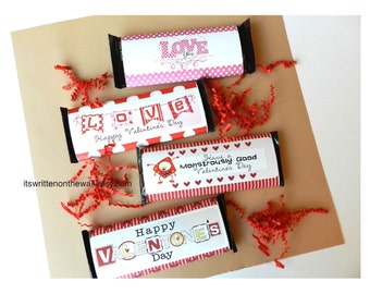 12 Valentine Candy Bar Wraps-Classroom Gifts, Teacher Appreciation, Family & Friends