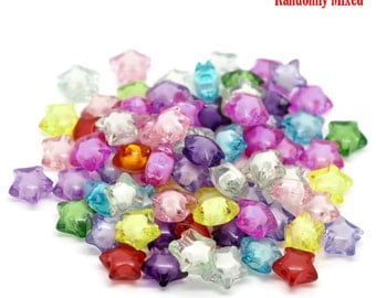 Acrylic Star Bead Mix - Set of 50 beads - #ACR277