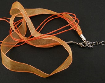 ORANGE - Ribbon Necklaces - Sold Individually