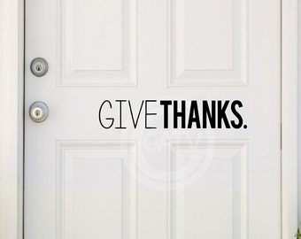 Give Thanks vinyl wall door decal sticker Thanksgiving lettering home decor