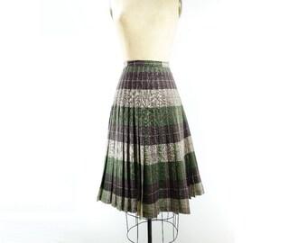 Vintage Plaid Skirt 1950s Plaid Skirt 50s Reversible Plaid Wool Plaid Skirt Olive Green Tartan Brown Plaid Skirt 50s Midi Plaid Skirt  s