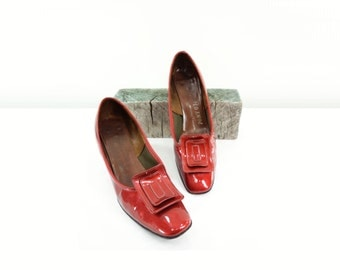 1960s Red Heels, 60s Patent Leather,  Vintage Marsala Shoes, Orange Shoes, Vintage Red Shoes, 60s Rust Shoes, Size 6 1/2, Euro 37