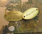 Custom Hand Stamped Decanter Tag - Large Brass