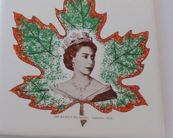 TILE Wall Decoration  1959  Queen Elizabeth II England and Decorated in Canada Vintage Original  On SaLe Now