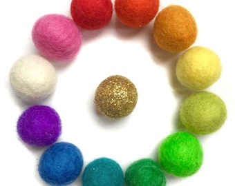 13 Rainbow and Gold Wool Felt Ammo Balls, Gentle play for Alittlelark Wooden Slingshot toy mix colors toys craft fun birthday gift for kids