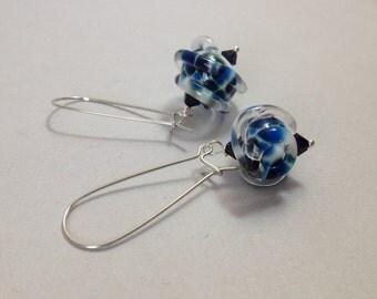 Asymmetrical Lampwork Glass Earrings - Navy Blue Dots on White Brass Kidney Ear Wires (E-520)