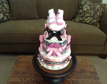 Damask Diaper Cake Baby Shower Centerpiece Gift in other sizes and colors too