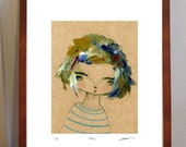 Blue -  A4 illustration Print of girl with chunky blue hair