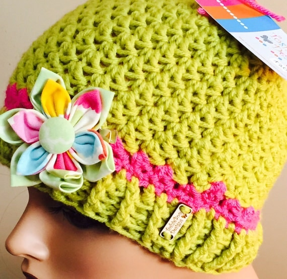 Lime Hat with Hot Pink trim and colorful fabric button clip