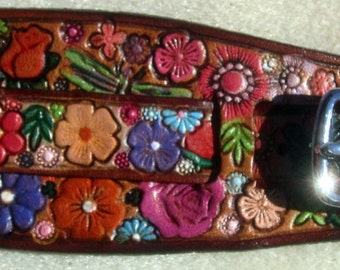 IPod Nano Made in GA USA Leather Watch Band or Wrist Band Cuff with Flower Garden Design and Brown Border Custom Sized