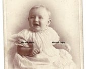 chubby baby in christening gown cabinet card photo