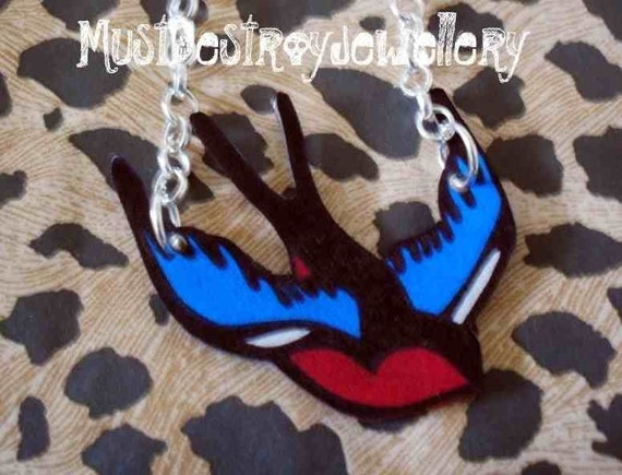 Traditional swallow tattoo necklace, alternative bridal necklace, sailor tattoo necklace,