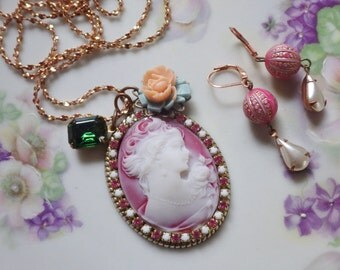 Pink Cameo Necklace ~ Pink Necklace ~ Long Necklace ~ Vintage Assemblage ~ Cameo Jewelry SET ~ by Upsweptillusions