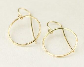 14K Gold Hoop Earrings - 14k Gold Dangle Earrings - Yellow Gold or Rose Gold Earrings