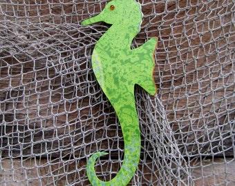 Metal Wall Art Seahorse Sculpture Lime Green Recycled Metal Indoor Outdoor Marine Beach House Coastal Bathroom Art  5 x 12