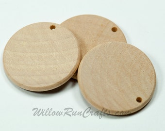25 Pack 1 inch Wood Circle Disc with 1 Hole Drilled (23-20-151)