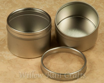 5 Round Blank Metal Tins, Great Gift Tins for your Pendants and Magnets  (17-96-170)