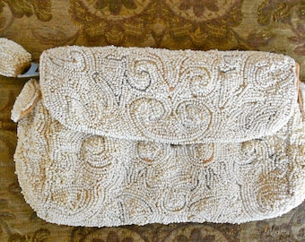 1930's Czechoslovakian White Beaded Purse