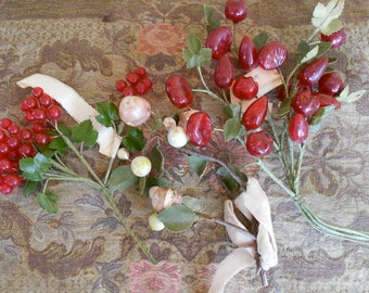 1930's Red Glass Berry Bouquets