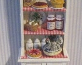 Narrow Kitchen Hutch Dollhouse  Dresser Filled dresser  tatty chic hutch white hutch twelfth scale dollhouse miniature