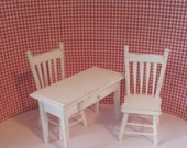 Dollhouse miniature kitchen set miniature chairs mini table  kitchen desk white kitchen set twelfth scale