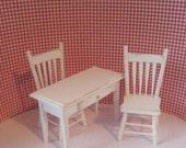 Dollhouse miniature kitchen set, miniature chairs, mini table,  kitchen desk, white kitchen set, twelfth scale,