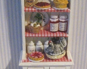 Narrow Kitchen Hutch, Dollhouse  Dresser, Filled dresser,  tatty chic hutch,, white hutch, twelfth scale dollhouse miniature