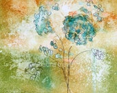 Floral in Earth Tones Watercolor Print
