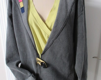 Sweatshirt Jacket, Appliqued Altered Sweatshirt, Pigment Dyed Sweatshirt, Grey Jacket, Fashionable Sweatshirt,Women's Sweatshirt Jacket