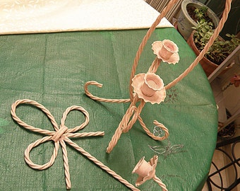 two chippy painted metal twisted wire candle holders