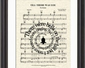 Till There Was You Song Lyric Sheet Music Art Print, The Beatles, The Music Man, Custom Wedding Gift, Names & Date, Music Art