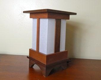 Japanese-style Shoji Lamp - PAGODA  Walnut/Mahogany-original design, Shoji Lamp, Japanese lamp